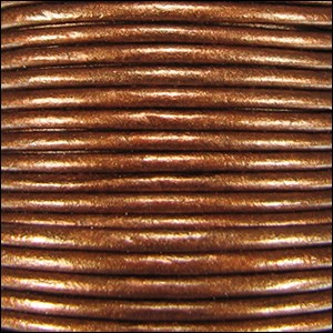 1.5mm Round Indian Leather Cord - Metallic Dark Copper - per yard