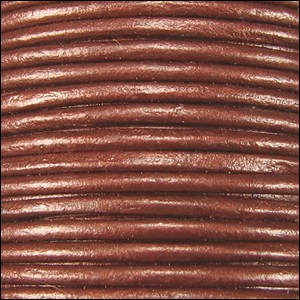 1mm Round Indian Leather Cord - Metallic Red Copper - per yard