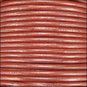 1.5mm Round Indian Leather Cord - Metallic Salmon - per yard