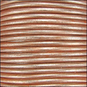 1.5mm Round Indian Leather Cord - Metallic Light Musk - per yard