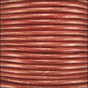 1.5mm Round Indian Leather Cord - Metallic Rust - per yard