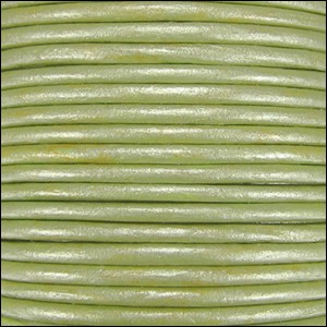 1.5mm Round Indian Leather Cord - Metallic Light Fern Green - per yard