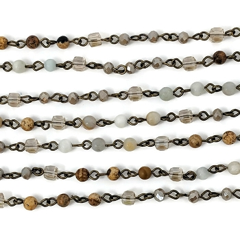 4MM Crystal Amazonite Jasper Mix Beading Chain - per half strand
