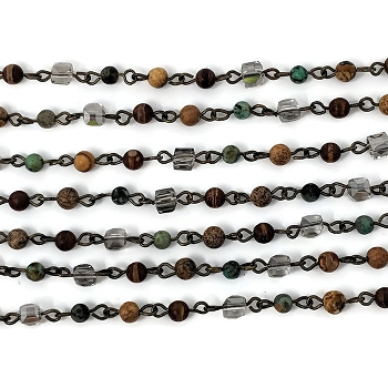 4MM Crystal Jasper Turquiose Mix Beading Chain
