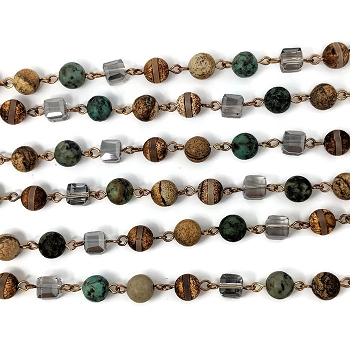 8MM Crystal Jasper Turquiose Mix Beading Chain