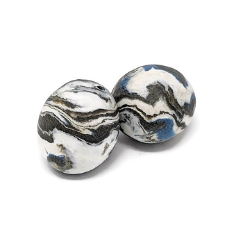 Polymer Clay Round Bead - Blue/Gray