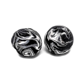 Polymer Clay Round Bead - Black/White
