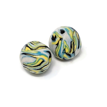 Polymer Clay Round Bead - Blue/Yellow/Black
