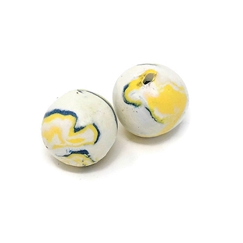 Polymer Clay Round Bead - Blue/Yellow