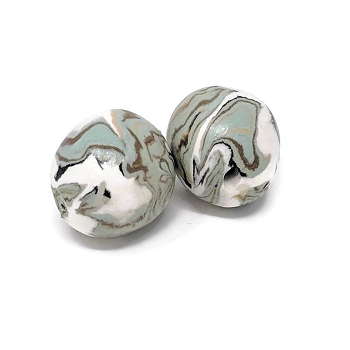 Polymer Clay Round Bead - Teal/Brown