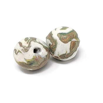 Polymer Clay Round Bead - White/Multi