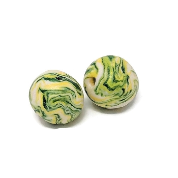 Polymer Clay Round Bead - Yellow/Green