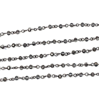 4MM Crystal Smokey Black Beading Chain - Gunmetal - per half strand