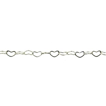 small heart chain RHODIUM per foot