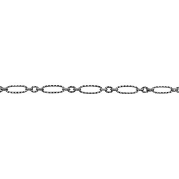 Etched Figaro Chain - Antique Silver - per foot