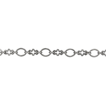 circle/cross chain ANT. SILVER - per foot