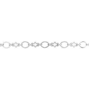 circle/cross chain SILVER PLATE - per foot