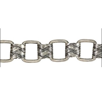 Woven Scroll Links chain ANT. SILVER - per foot