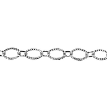Etched Oval Link Chain - Rhodium
