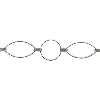 large round/oval ring chain ANT. SILVER - per foot