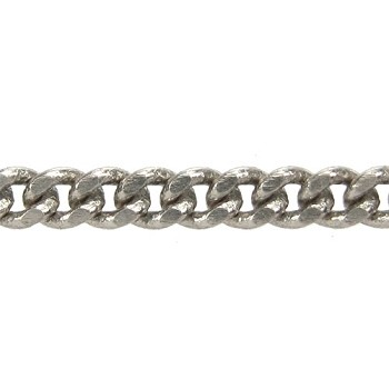 flattened curb 3mm chain  ANT. SILVER