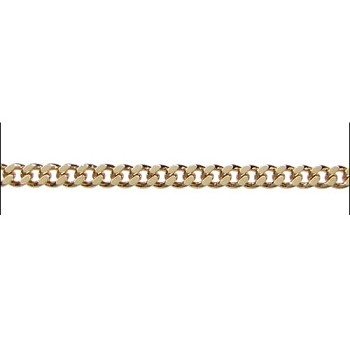 flattened curb 3mm chain GOLD - per foot