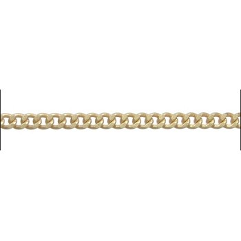 flattened curb 3mm chain MATTE GOLD - per foot