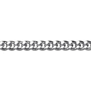 flattened curb 3mm chain  RHODIUM per foot