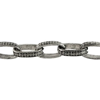 art deco chain ANT. SILVER per foot