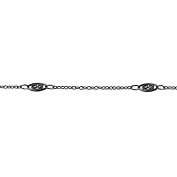 Fine Filigree Curb Chain - Gunmetal - per foot