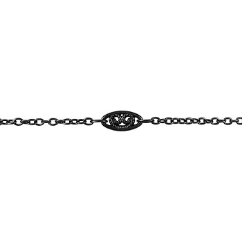 Fine Filigree Curb Chain - Nite Black - per foot