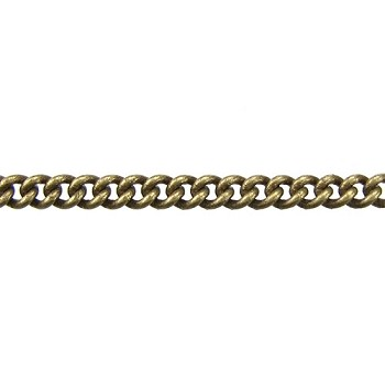 fine curb chain ANT. BRASS per foot