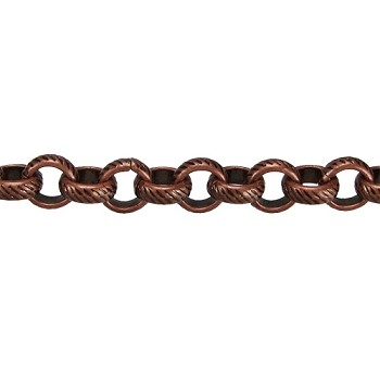 rolo etched lines chain  ANT. COPPER per foot