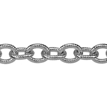 etched med heavy cable chain RHODIUM per foot