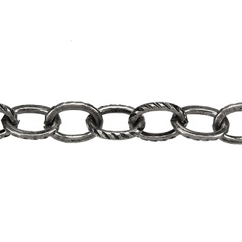 Cable Etched Lines chain ANT. SILVER per foot