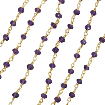 Beaded chain per foot - Amethyst - per foot