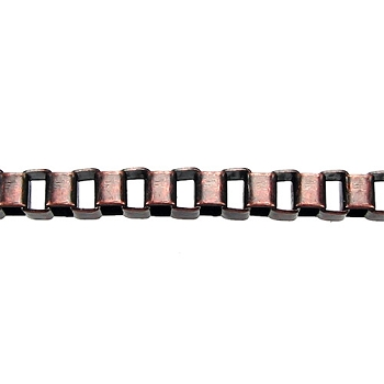 4mm BOX chain  ANT. COPPER per foot