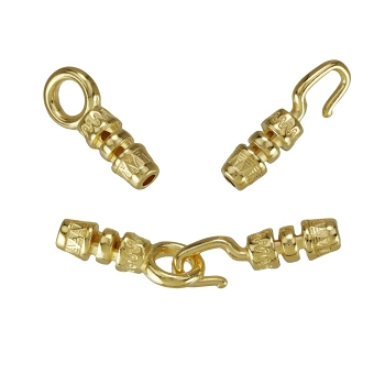 1.5mm Round Leather crimp hook and loop clasp SHINY GOLD  per set