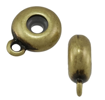 10mm Round Bead Stopper - Antique Brass