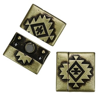 20mm SOUTHWESTERN Flat Leather Cord Magnetic Clasp ANT BRASS - per 10 clasps