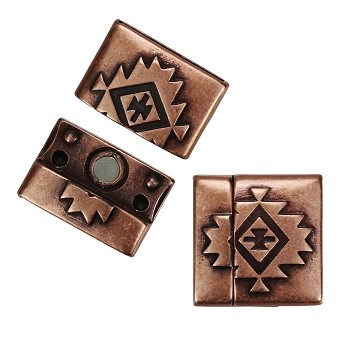 20mm SOUTHWESTERN Flat Leather Cord Magnetic Clasp ANT COPPER - per 10 clasps