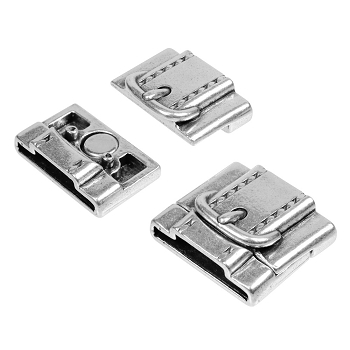 10mm + 20mm Flat Buckle Magnetic Leather Cord Clasp - Antique Silver