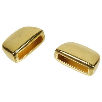 10mm Flat Plain Leather Cord End Cap (2) - Gold Plated