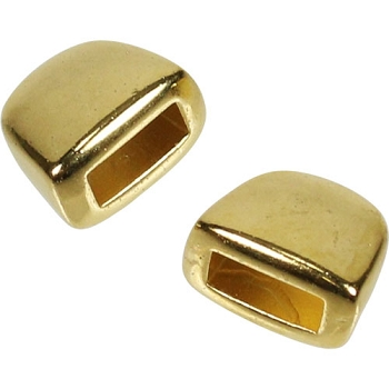 5mm Flat Plain Leather Cord End Cap (2) - Gold Plated