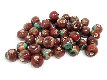 Claycult 8mm Round Ceramic Bead - Choc Lady