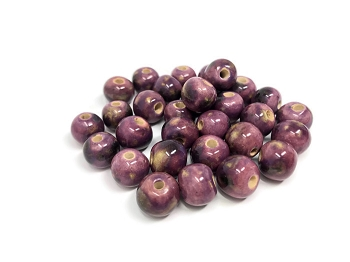 Claycult 10mm Round Ceramic Bead - Deep Rose Mix Royal