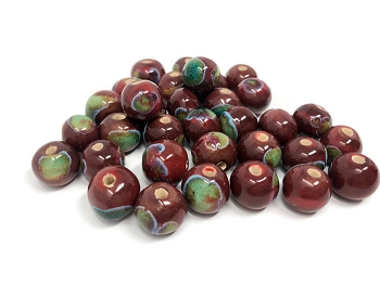 Claycult 12mm Round Ceramic Bead - Choc lady