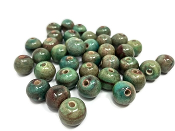 Claycult 12mm Round Ceramic Bead - Ablaze Egyptian Green