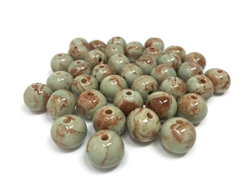 Claycult 12mm Round Ceramic Bead - Celadon on two tone clay