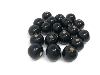 Claycult 12mm Round Ceramic Bead - Ebony